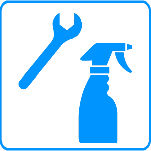 Maintenance - Spanner and Spray Bottle Blue